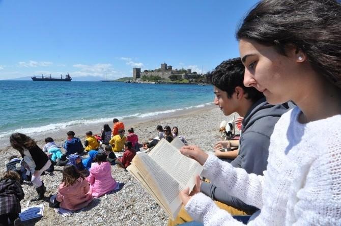 Sahilde Kitap Okudular