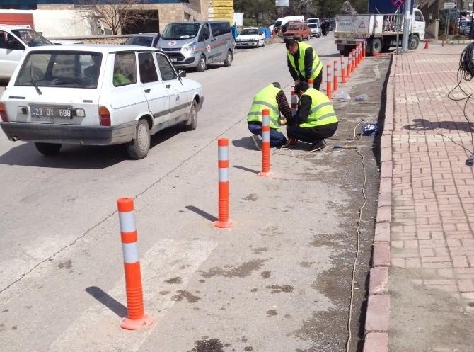 Elazığ'da Da Adliye Önünde Araçlar İçin Tedbir Alındı
