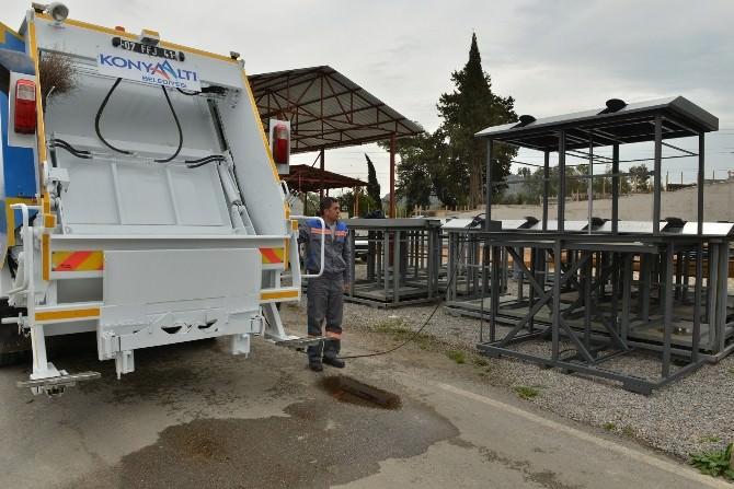 """Konyaaltı'nda """"Yer Altı Çöp Konteyneri Projesi"""" Devam Ediyor"""