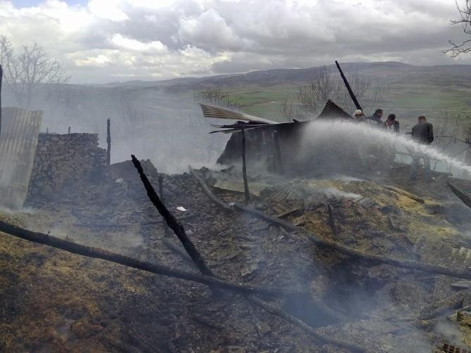 Tokat'ta Ahır Yangını: 2 Hayvan Telef Oldu