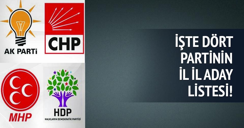 AK Parti-CHP-MHP-HDP'nin il il milletvekili aday listesi
