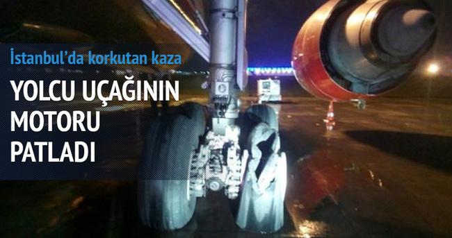 İstanbul'da yolcu uçağının motoru patladı
