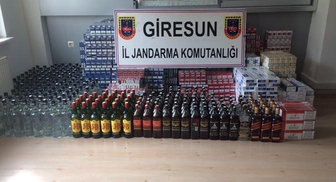 Giresun'da Kaçak Sigara Ve İçki Ele Geçirildi