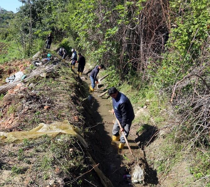 Erdemli Belediyesi Sulama Kanallarını Temizliyor