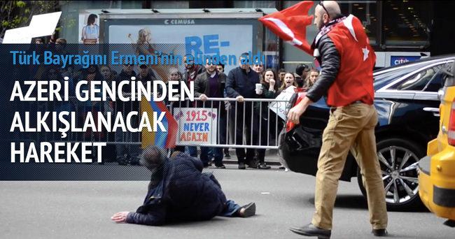 ABD'de Türk Bayrağı'nı Ermeniler'den Kurtaran Azeri genci