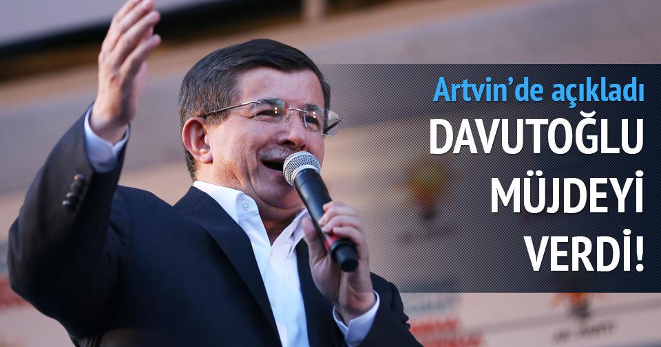 Davutoğlu Artvin'de müjdeyi verdi