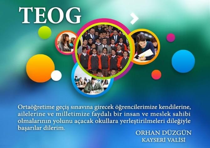 Vali Orhan Düzgün TEOG Sınavına Girecek Öğrencilere Başarılar Diledi