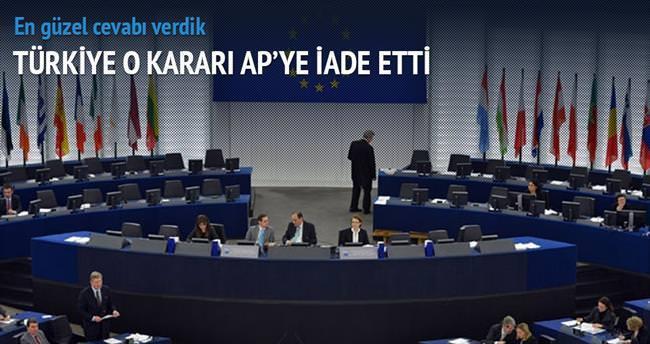 Türkiye AP kararını iade etti