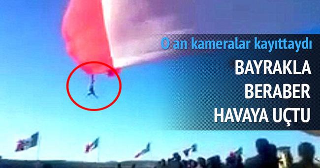 Asker, bayrakla birlikte havaya uçtu