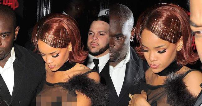 Rihanna transparan elbisesinin azizliğine uğradı
