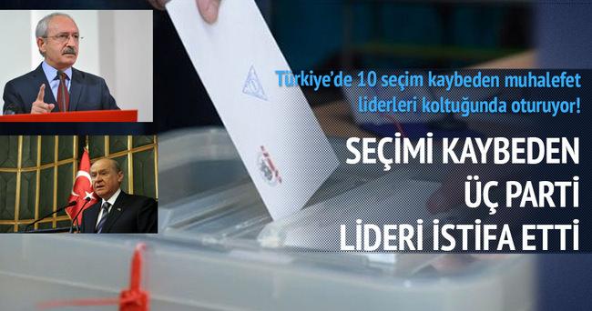 Seçimi kaybeden 3 parti lideri istifa etti