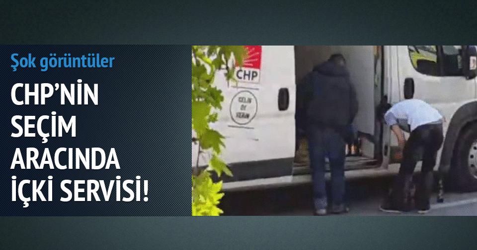 CHP'nin seçim aracında içki servisi