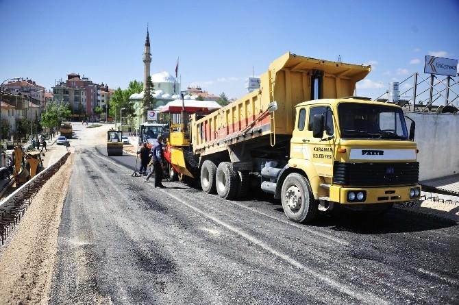 Karaman Belediyesi Üst Geçidi Asfaltlıyor