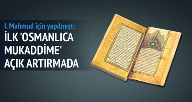 İlk 'Osmanlıca Mukaddime' açık artırmada