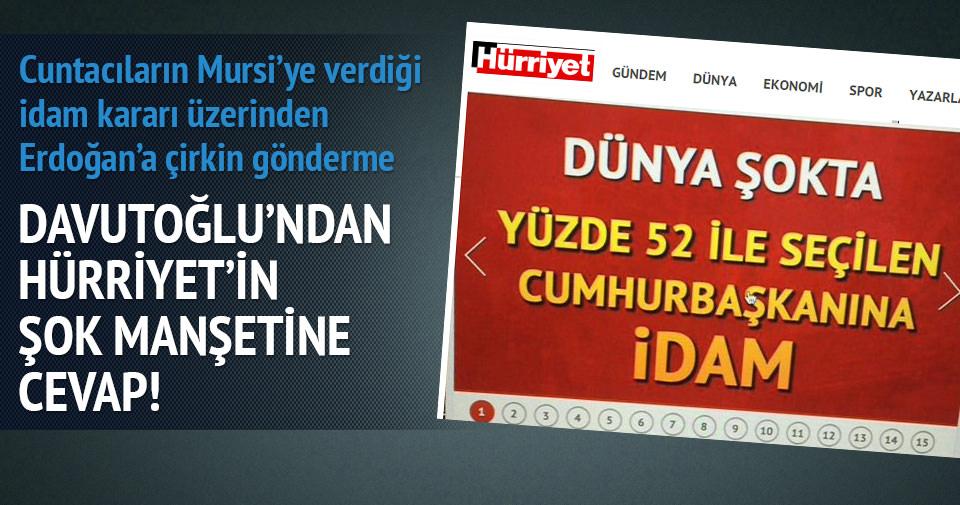 Davutoğlu'ndan Hürriyet'in şok manşetine cevap