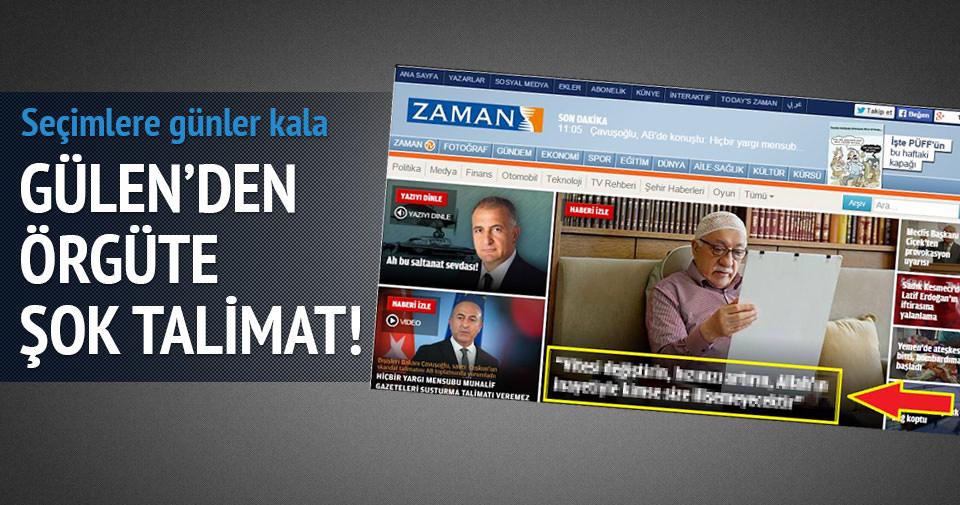 Fetullah Gülen'den örgüte şok talimat!