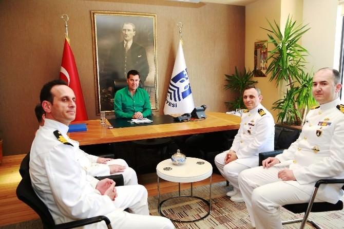 Gemi Komutanlarından Başkan Kocadon'a Ziyaret