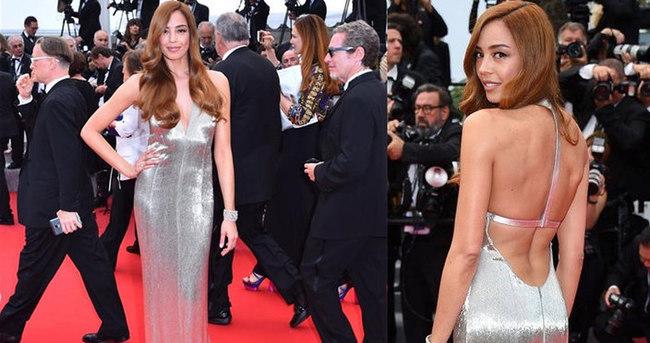 Azra Akın'dan Cannes'da derin dekolteli şov