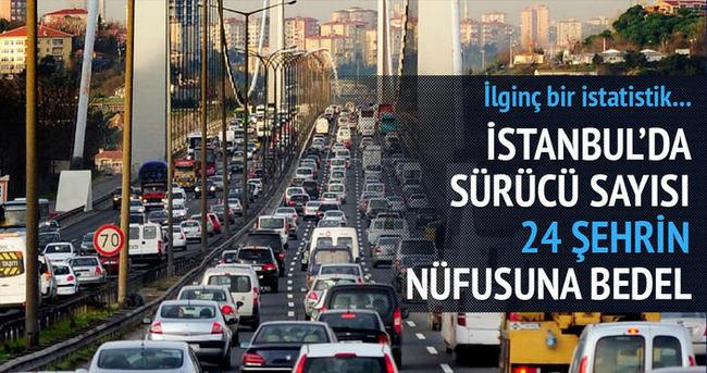İstanbul'da 24 şehrin nüfusu kadar ehliyetli sürücü var