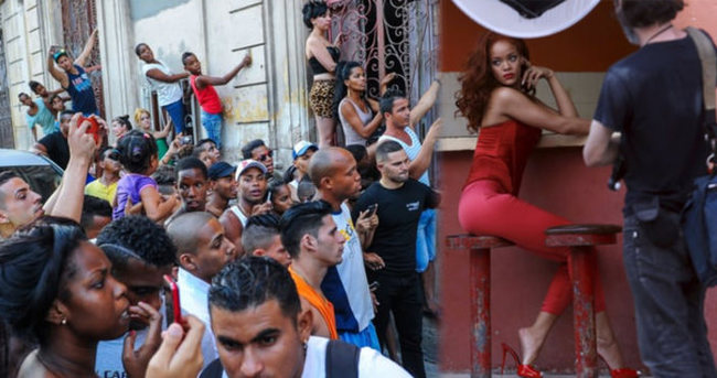 Küba'da Rihanna izdihamı