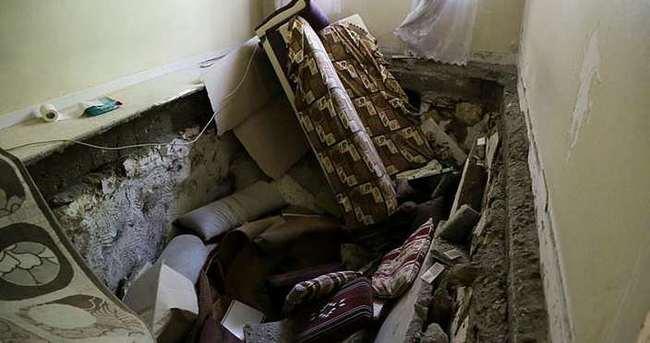 Adıyaman'da bir evin zemini çöktü