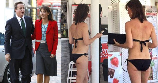 İngiltere başbakanın eşi Samantha Cameron bikiniyle yakalandı