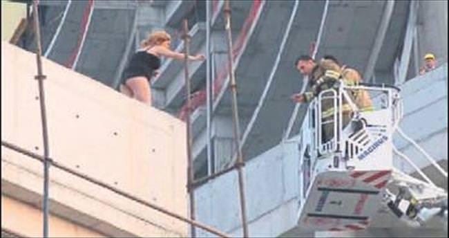 Genç kadın inşaattan atlayıp ölmek istedi
