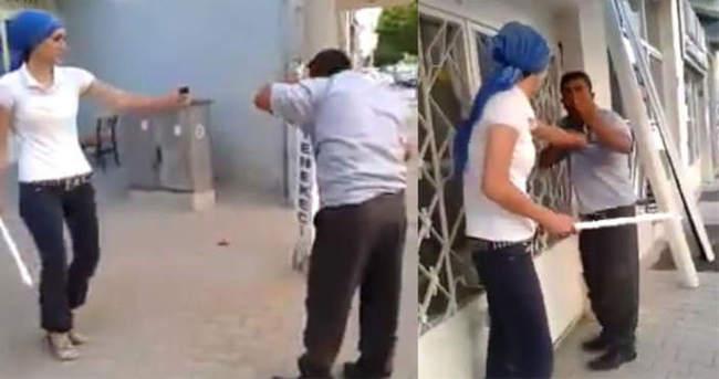 Genç kadın, adamı evire çevire dövdü