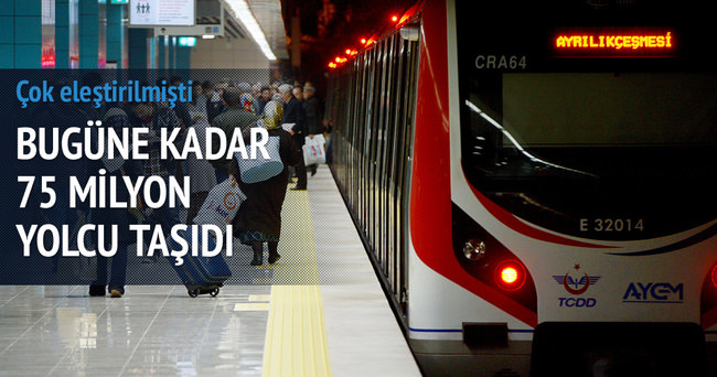 Marmaray 18 ayda 75 milyon yolcu taşıdı