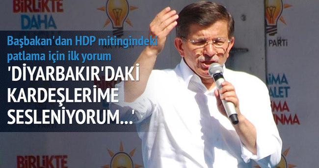 Başbakan Davutoğlu: Diyarbakır'daki kardeşlerime sesleniyorum...