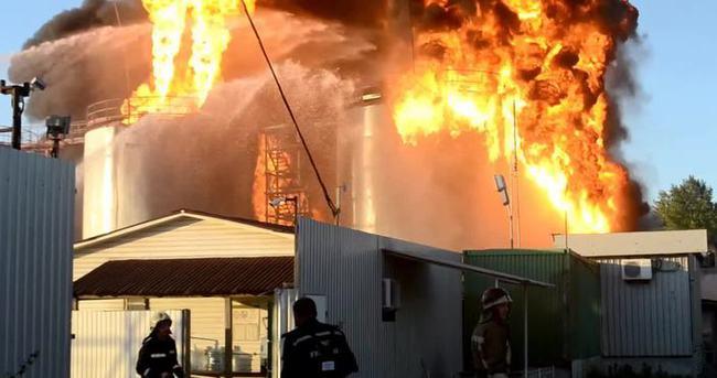 Ukrayna'da petrol depolarında yangın