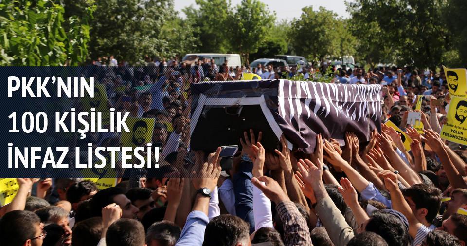 PKK'nın 100 kişilik infaz listesi