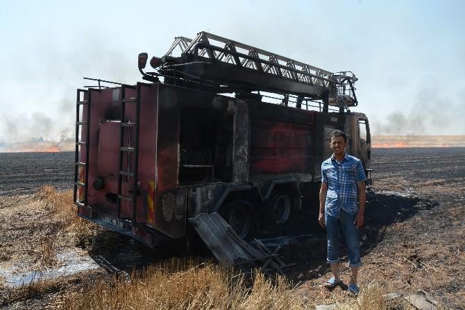Alevlerin Arasında Kalan İtfaiye Aracı Yandı