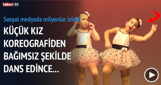 Koreografiden bağımsız şekilde dans eden küçük kız
