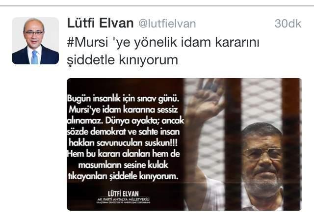 Lütfi Elvan, Mursi'ye İdam Kararını Kınadı