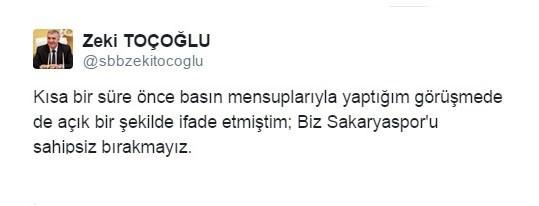 """Başkan Toçoğlu: """"Sakaryaspor'u Sahipsiz Bırakmayız"""""""