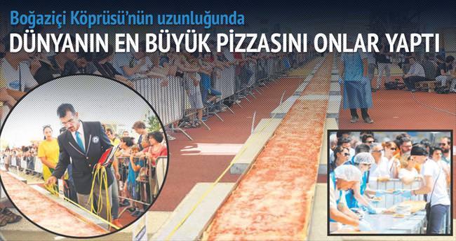 Boğaziçi Köprüsü uzunluğunda pizza