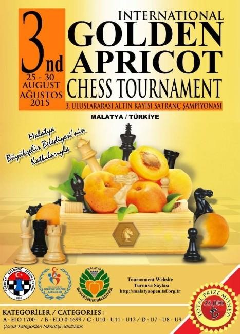 3.uluslararası Altın Kayısı Satranç Turnuvası 25 - 30 Ağustos'ta Yapılacak
