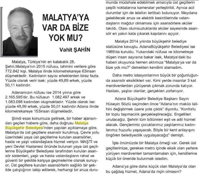 Adana'da Malatya Örneği
