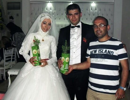 Düğüne Gelen Davetlilere Nikah Şekeri Yerine Tüplü Fidan Dağıtıldı