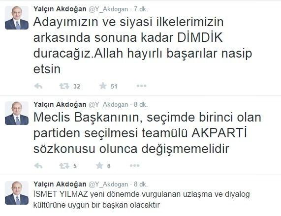 Başbakan Yardımcısı Yalçın Akdoğan'dan TBMM Başkanlık Seçimleri Hakkında Açıklama