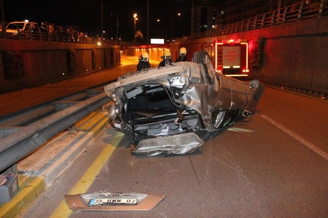 Denizli'de Defalarca Takla Atan Otomobil Hurdaya Döndü