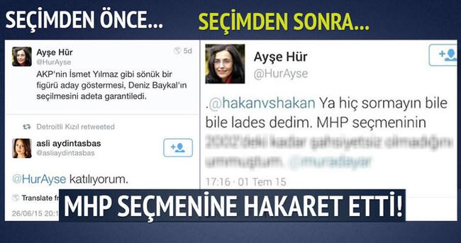 Ayşe Hür MHP'nin seçmenine hakaret etti!