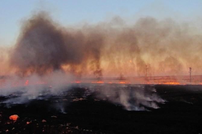 Araban Ovası'nda Anız Yangınları