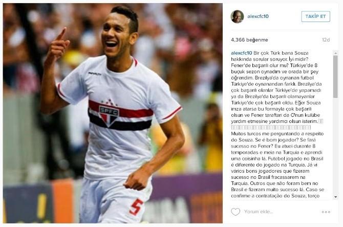 """Alex'den Taraftarlara """"Josef De Souza"""" Açıklaması"""