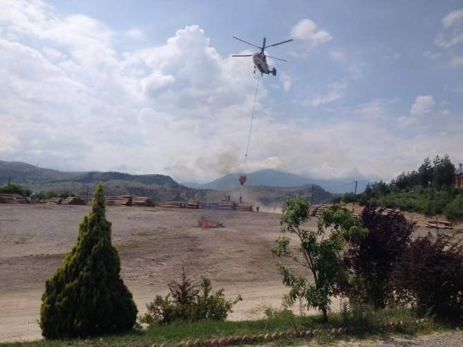 Karabük'te Yangın Helikopteri Konuşlandırıldı