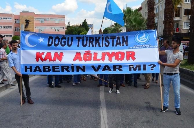 Çanakkale'de Doğu Türkistan'a Destek Yürüyüşü