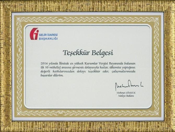Bakan Şimşek'ten YEDAŞ'a Teşekkür Belgesi