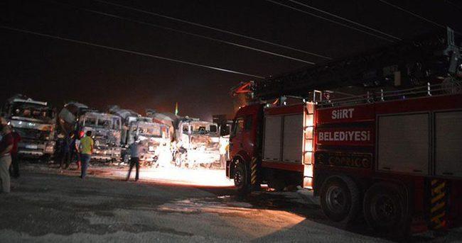 Siirt'te 5 iş makinesi kundaklandı