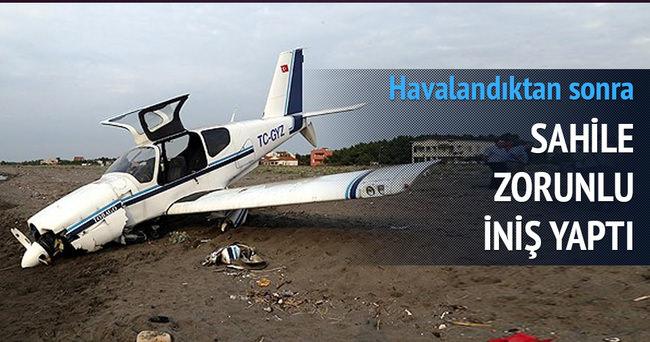 Zorunlu iniş yapan uçaktaki 4 kişi kurtarıldı